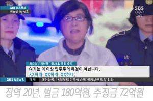 [속보] 최순실 1심 판결, 징역 20년 벌금 180억원 ...